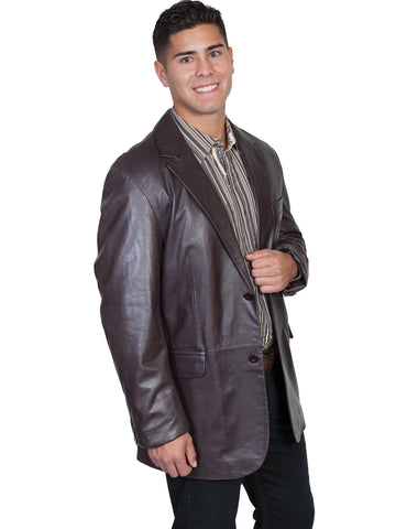 Scully Leather Mens Chocolate Lambskin Button Front Blazer