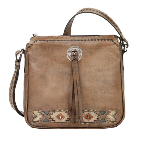 American West Native Sun Crossbody Bag Charcoal Brown Leather