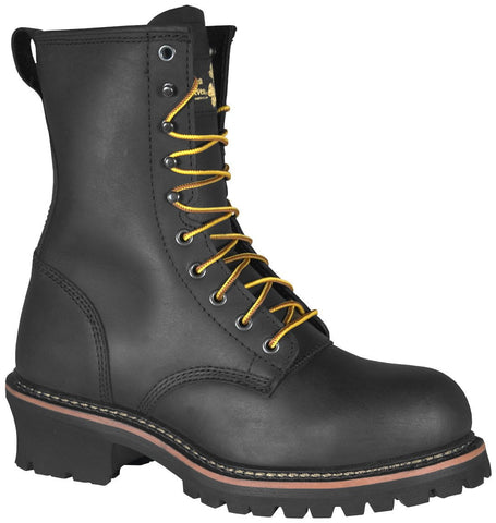 Golden Retriever Mens Black Buffalo Leather Boots Steel Toe 9in Logger 7EE