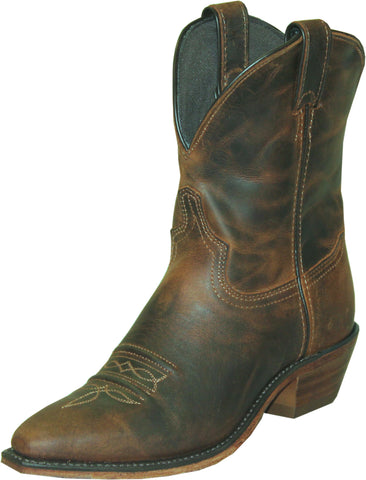Abilene Womens Distressed Brown Leather 7in USA Cowboy Boots
