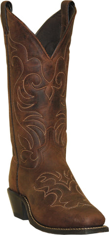 Abilene Boots Ladies Brown Cowhide Cowboy Saddle Worn USA