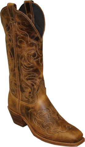 Abilene Womens Antiqued Tan Leather 11in USA Cowboy Boots