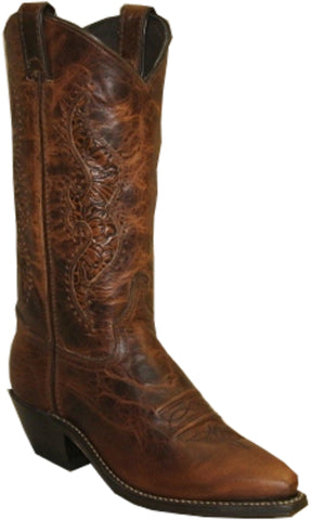 Abilene Womens Antiqued Brown Leather 11in Tooled Cowboy Boots