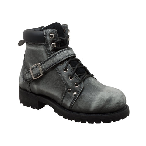 Ride Tecs Mens Black Stonewashed Leather Motorcycle Boots
