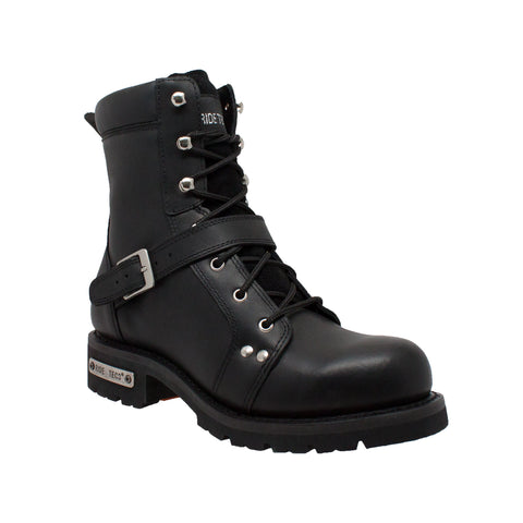 Ride Tecs Mens Black Leather Motorcycle Boots