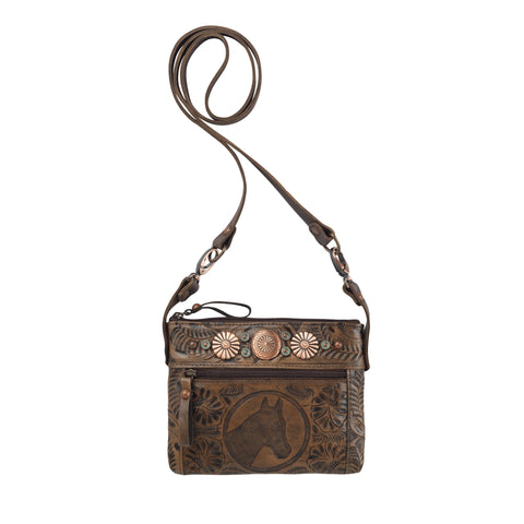 American West Trail Rider Hip Crossbody Bag Charcoal Brown Leather