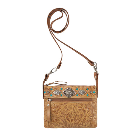 American West Trail Rider Hip Crossbody Bag Tan Leather