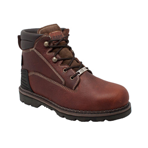 SAFA Mens Brown 6in Steel Toe Work Boot Tumbled Leather
