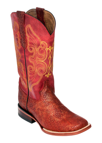 Ferrini Ladies Red Leather S-Toe Sparkle Embroidered Cowboy Boots