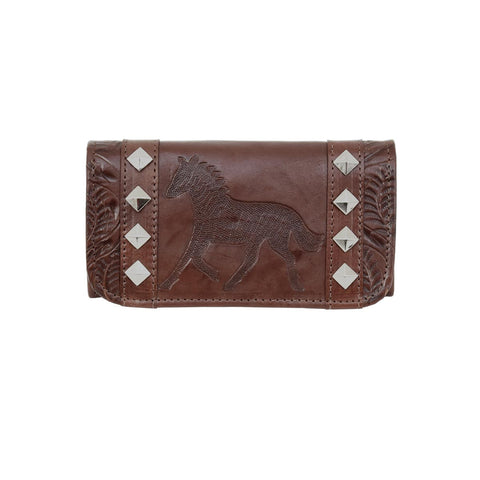 American West Hitchin Post Chestnut Brown Leather Trifold Wallet