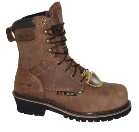 AdTec Mens Brown 9in Steel Toe Super Logger Leather