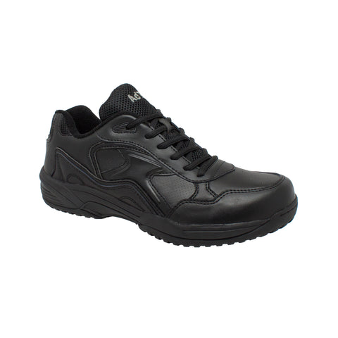 Adtec Mens Black Leather Lace-up Uniform Shoes