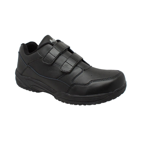 Adtec Mens Black Leather Slip-on Uniform Shoes
