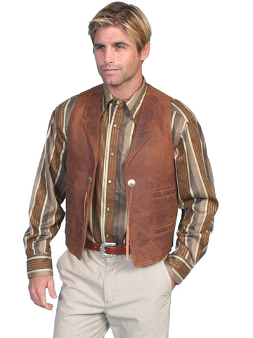 Scully Leather Mens Vintage Lamb Conchos Four Welt Pockets Vest Brown