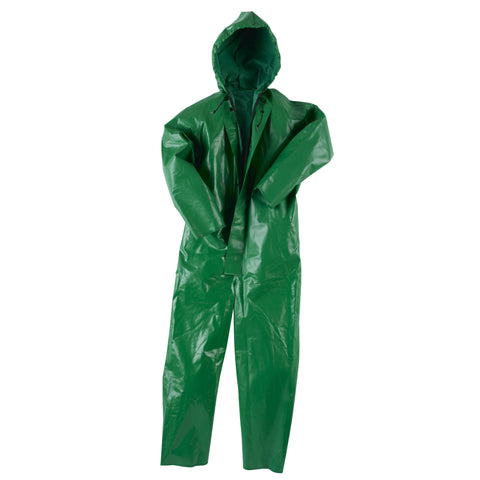 Neese Coverall with Attached Hood Green PVC/Poly Chem Shield 96 D6413