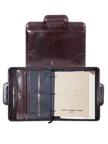 Scully Accessories Walnut Italian Leather Drop Handle 3 Ring Binder