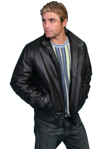 Scully Leather Mens Black Top Grain Calf Zip Front Jacket