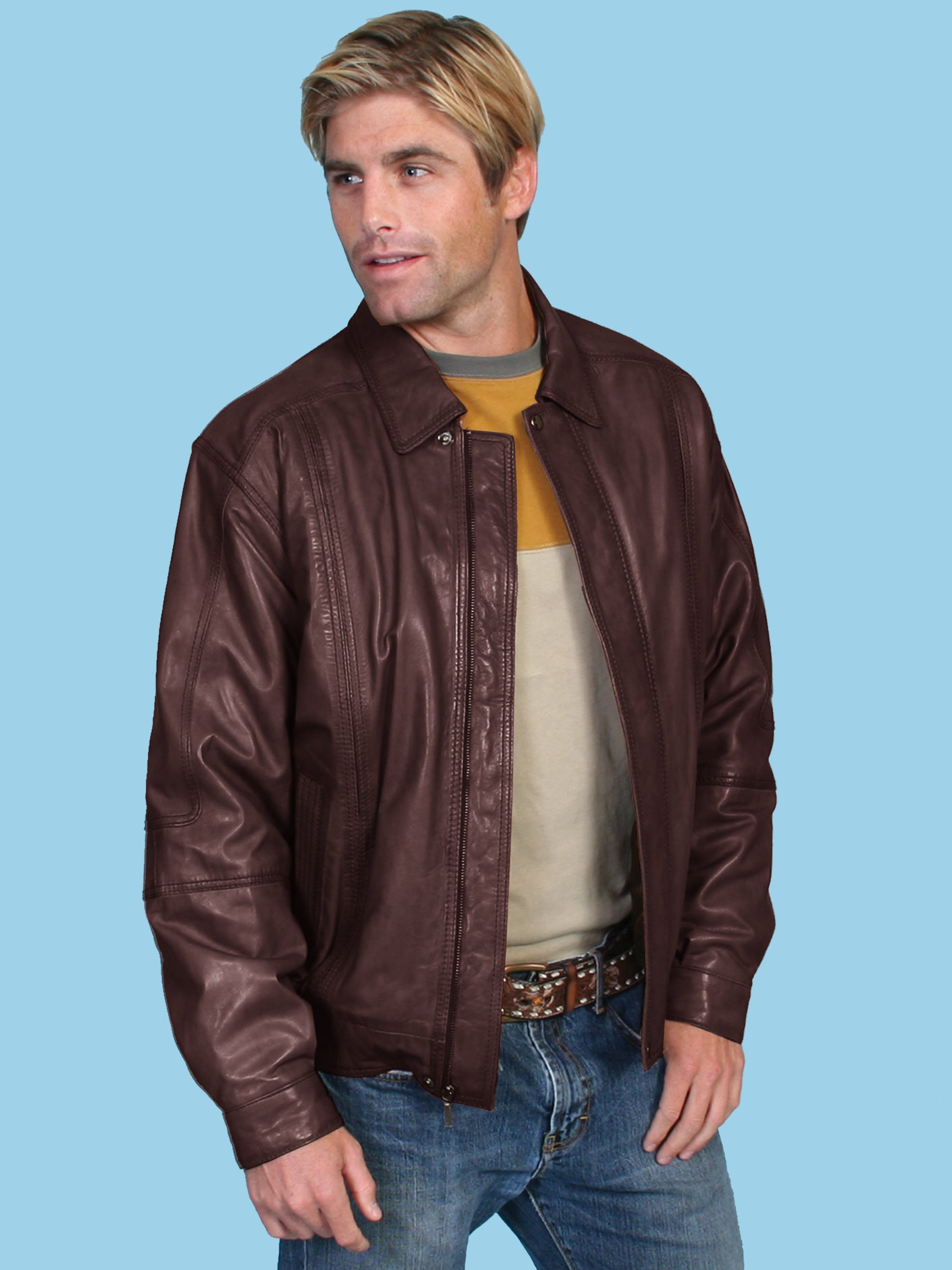 3acee2733 Scully Leather Mens Premium Lambskin Zip Front Jacket Chocolate