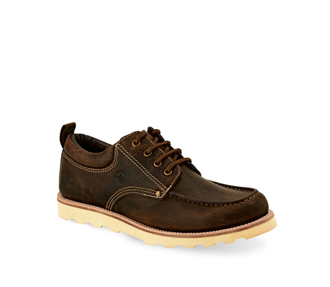 Old West Brown Mens Leather Casual Lace-Up Oxford Shoes