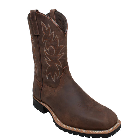 AdTec Mens Brown 12in ST Western Work Boots Leather