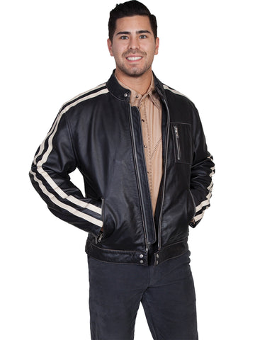 Scully Leather Mens Charcoal Sanded Calf Cafe Racer Racing Jacket