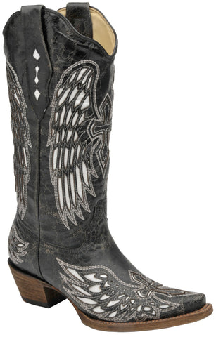 Corral Boots Womens Leather Wing & Cross Black White Cowgirl 10 M