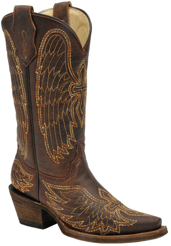 Corral Boots Kids Girl Leather Wing & Cross Brown Gold Cowgirl