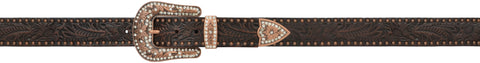 Angel Ranch Dark Brown Copper Studs Leather Womens Belt Western 1.5in