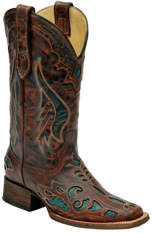 Corral Boots Womens Leather Turquoise Inlay Cognac Distressed Cowgirl