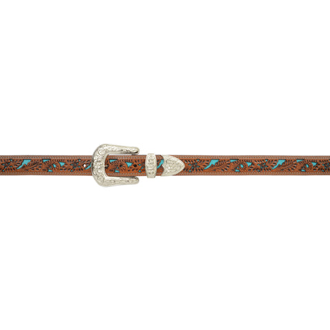 Angel Ranch Natural Leather Womens Belt Turquoise Inlay Floral