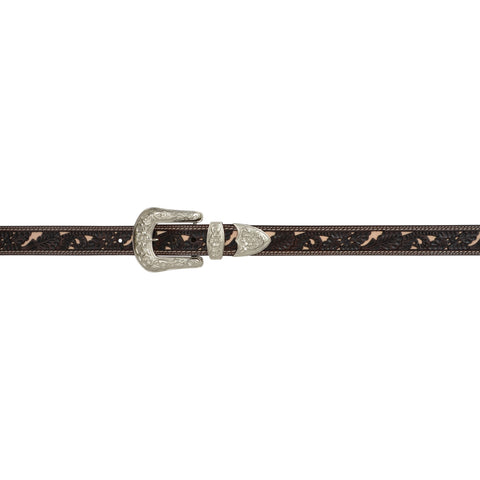 Angel Ranch Chocolate Leather Womens Belt Roughout Inlay Filigree
