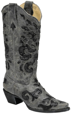 Corral Boots Womens Leather Crater Sequence Inlay Gray Black Cowgirl