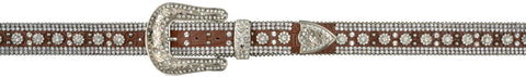 Angel Ranch Brown Gator Conchos Leather Womens Belt Fashion 1.5in