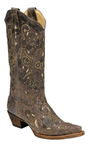 Corral Boots Womens Leather Crater Bone Inlay Brown Stud Cowgirl