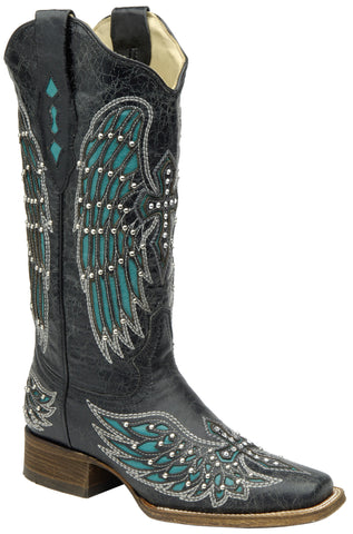 Corral Boots Womens Leather Wing & Cross Black Turquoise Cowgirl