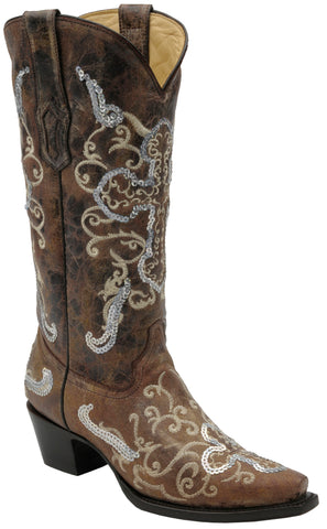 Corral Boots Womens Leather Cross Sequence Brown Tobacco Cowgirl