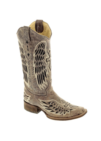 Corral Boots Womens Leather Wing & Cross Sequence Brown/Black Cowgirl