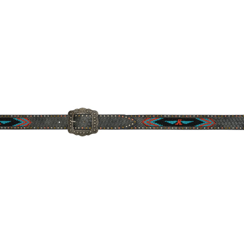 Angel Ranch Black Leather Womens Belt Southwest Beaded Tri-Color Studs