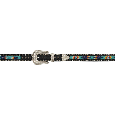 Angel Ranch Black Leather Womens Belt Southwest Beaded Crystals