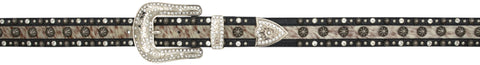 Angel Ranch Black Hair-On Inlay Leather Womens Belt Fashion 1.5in