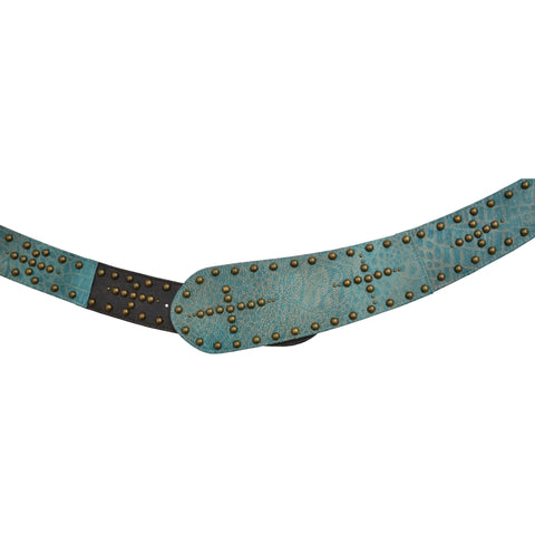 Angel Ranch Turquoise Leather Womens Belt 3in Brass Studs