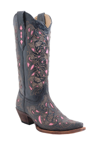 Corral Boots Womens Leather Laser Inlay Black Cognac Goat Cowgirl