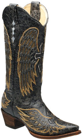 Corral Boots Womens Leather Wing & Cross Black Gold Cowgirl