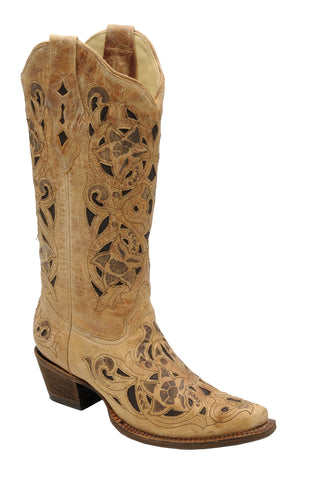Corral Boots Womens Leather Brushed Laser Antique Saddle Cowgirl