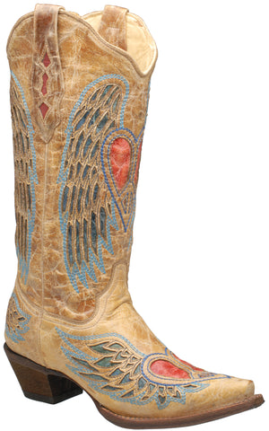 Corral Boots Womens Leather Wing & Heart Antique Saddle Blue Cowgirl