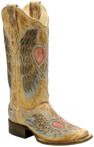 Corral Boots Womens Leather Wing & Heart Antique Saddle Sq Toe Cowgirl