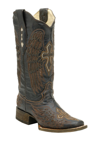 Corral Boots Womens Leather Wing & Cross Brown Sq Toe Cowgirl