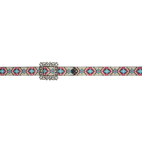 Angel Ranch Multi Leather Womens Belt 1 1/2in Aztec Beaded