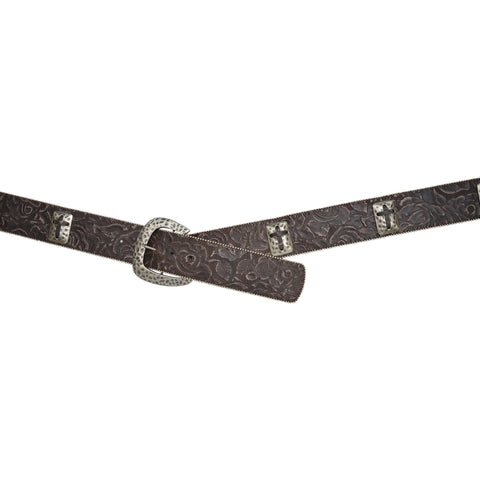 Angel Ranch Dark Brown Leather Womens Belt Rectangle Cross Conchos
