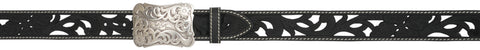 Angel Ranch Black Inlay Leather Womens Belt Fashion 1.5in